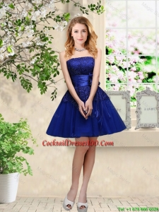 New Arrival Hand Made Flowers Royal Blue Cocktail Dresses with Appliques