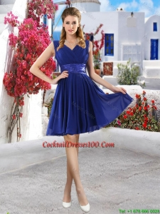 New Arrival V Neck Short Cocktail Dresses in Royal Blue