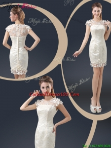 Elegant Mini Length Cap Sleeves Cocktail Dresses with Appliques