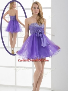 Beautiful Sweetheart Eggplant Purple Short Inexpensive Cocktail Dresses with Beading