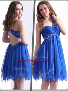 Best One Shoulder Blue Short Prom Dresses with Beading