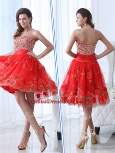 Gorgeous Sweetheart Red Chic Cocktail Dress with Beading and Appliques