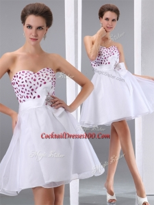 Popular Sweetheart White Short Inexpensive Cocktail Dresses with Beading