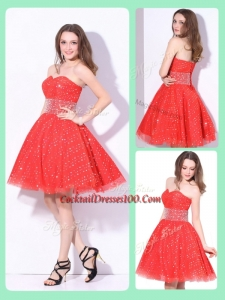 Luxurious Sweetheart Beading Elegant Cocktail Dress in Red for Fall