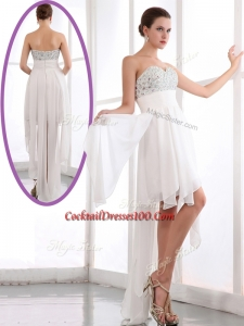 Most Popular Sweetheart High Low Beading Prom Dress in White