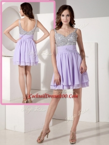 Lovely Short Sweetheart Beading Cocktail Dresses in Lavender
