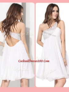 Pretty Short One Shoulder Beading Fairy Cocktail Dress in White