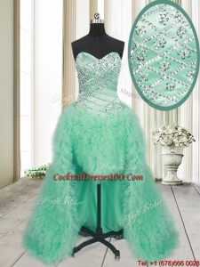 2017 Elegant High Low Brush Train Beaded and Ruffled Cocktail Dress in Apple Green