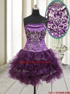 2017 Exclusive Strapless Beaded and Ruffled Dark Purple Cocktail Dress in Organza