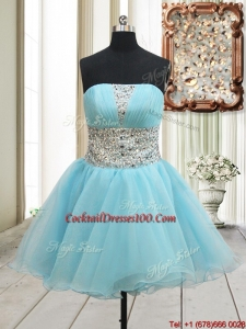 2017 Lovely A Line Strapless Zipper Up Aqua Blue Cocktail Dress with Beading