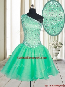 2017 Visible Boning One Shoulder Beaded Bodice Organza Cocktail Dress in Turquoise