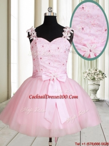 New Applique Decorated Straps Baby Pink Short Cocktail Dress with Beading and Bowknot