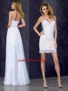 Short Inside Long Outside Laced White Cocktail Dress