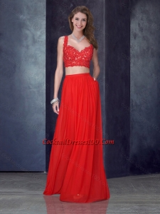 Two Piece Column Straps Red Cocktail Dress with Appliques
