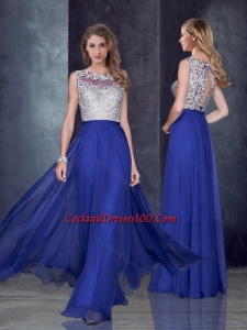 Empire Bateau Royal Blue Cocktail Dress with Appliques