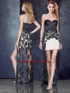 High Low Black and Champagne Cocktail Dress with Lace