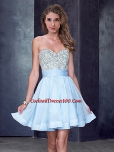 New Style Beaded Sweetheart Short Cocktail Dress in Light Blue