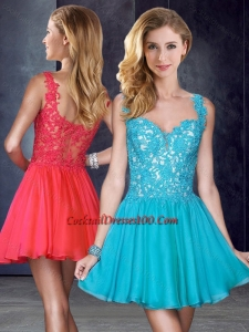 New Style Straps Short Teal Cocktail Dresses for Weddings with Appliques
