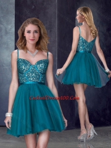 Perfect Spaghetti Straps Applique Short Cocktail Dress in Turquoise