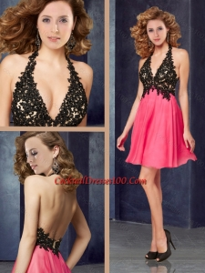 Popular Halter Top Backless Laced Cocktail Dress in Coral Red and Black