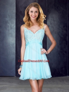 Simple Straps Backless Beaded and Applique Cocktail Dress in Light Blue