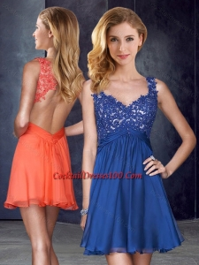 Orange and blue cocktail dresses