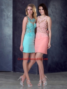 2016 Luxurious Column Short Cocktail Dress in Satin and Lace