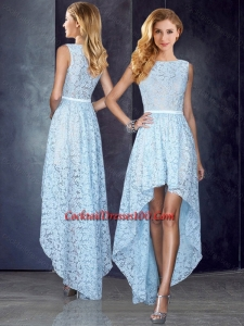 Bateau High Low Light Blue Cocktail Dress in Lace