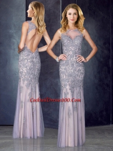 Elegant Column Bateau Backless Cocktail Dresses for Weddings with Appliques