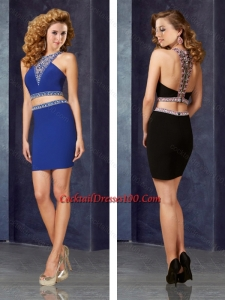 New Two Piece Column Elastic Woven Satin Cocktail Dress with Beading