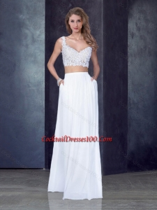 Two Piece Column Straps Applique Cocktail Dresses for Weddings in White