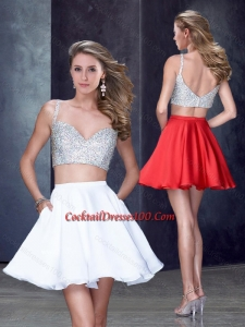 Two Piece Straps White Short Cocktail Dress with Beading