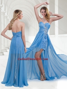 Lovely Zipper Up Baby Blue Long Cocktail Dress with Beading