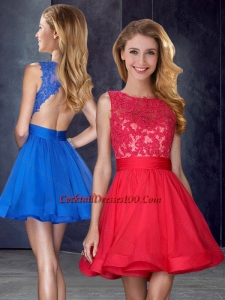Hot Sale Scoop Backless Red Women Cocktail Dress with Appliques and Belt