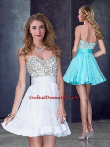 Hot Sale Short Sweetheart White Women Cocktail Dress with Beading in Organza