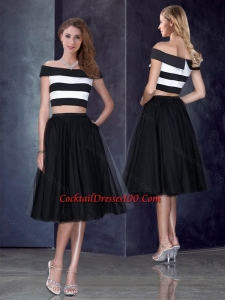 Inexpensive Princess Off the Shoulder Black Prom Dress with Cap Sleeves
