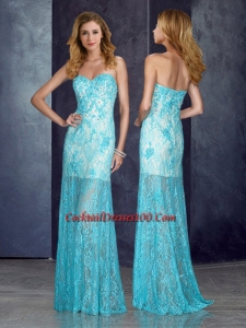 Inexpensive Short Inside Long Outside Beaded Baby Blue Prom Dress with in Lace