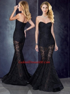 Inexpensive Short Inside Long Outside Mermaid Black Prom Dress in Lace