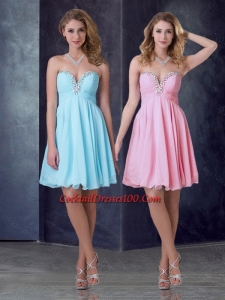 Exclusive Empire Chiffon Short Women Cocktail Dress with Beading and Ruching