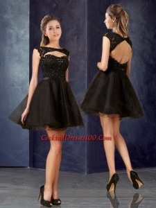 Pretty Open Back Bateau Black Women Cocktail Dress with Lace and Belt