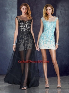 Short Inside Long Outside Bateau Applique Light Blue Women Cocktail Dress in Black
