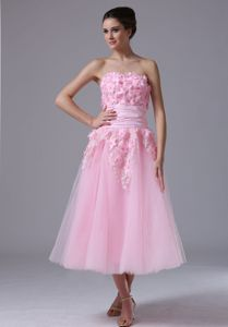 Tea Length Pink A-line Tulle Cocktail Dress with Floral Appliques in USA