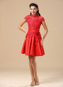 Turtle Neckline Cap Sleeves Lace Cocktail Dress in Red with Waistband