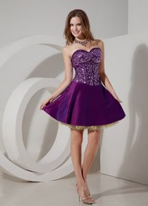 Paillette Bodice Cocktail Dress in Eggplant Purple and Champagne