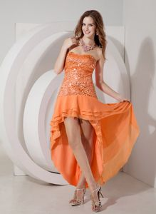 Discount High-low Dropped Waist Sequins Cocktail Dress in Orange