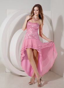 Strapless Rose Pink High-low Cocktail Dress in Chiffon and Sequin Fabric