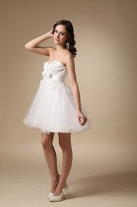 Sweetheart White Puffy Cocktail Dress with Appliques and Flowers