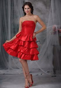 Strapless Layered Bright Red Cocktail Homecoming Dress in Honolulu