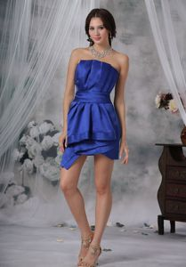 2013 Designer Ruched Royal Blue Cocktail Dress with Ruched Accent