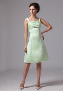 Knee-length A-line Cocktail Dress in Apple Green with Straps in Dover